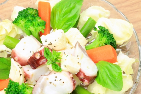 fishery products: This is salad of an octopus and the Mozzarella cheese  Stock Photo