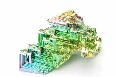 bismuth: This is called a bismuth crystal with a mineral crystal  Stock Photo