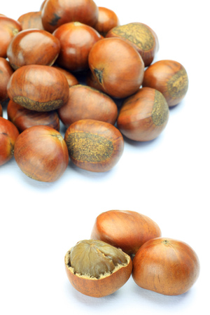 broiled: sweet broiled chestnuts Stock Photo
