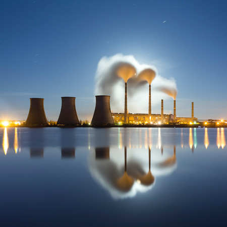 Moonrise over over thermal power station