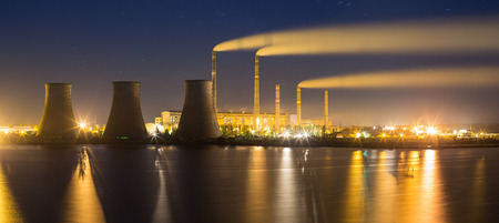 a power: Thermal power plant at night Stock Photo