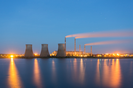 thermal: Thermal power plant at night Stock Photo