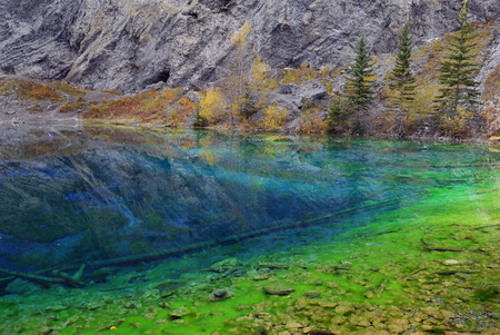 canmore: Blue and Green algae in the clear water of Grassi Lakes Canmore LANG_EVOIMAGES