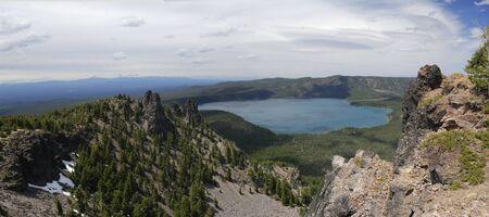 crater lake: Panorama of Paulina Lake from Paulina Peak Oregon LANG_EVOIMAGES