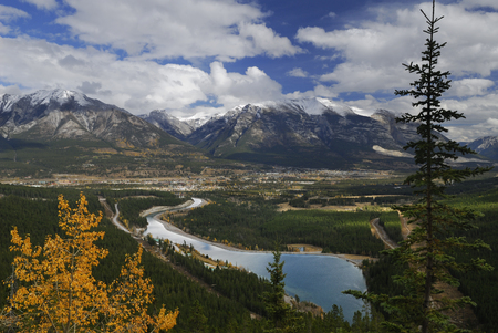 View of Goat Pond reservoir Canmore and Fairholme Range mountains LANG_EVOIMAGES