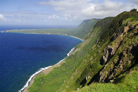 Sea cliffs of Kalaupapa Molokai Hawaii LANG_EVOIMAGES