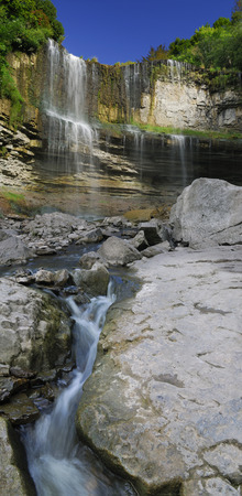 Wide view of Websters Falls Niagara escarpment from the Spencer Gorge