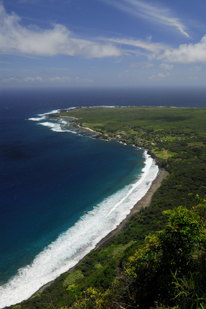 Black beach and Kalaupapa peninsula leper colony Molokai
