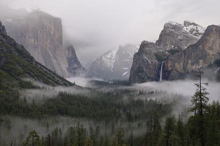 flowing water: Clouds and fog in a Valley after a winter rain storm seen from Tunnel View