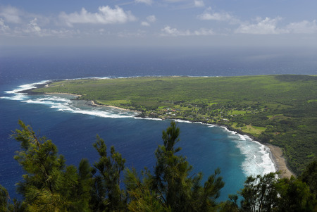 Kalaupapa leper colony on Molokai from the cliff edge overlook LANG_EVOIMAGES