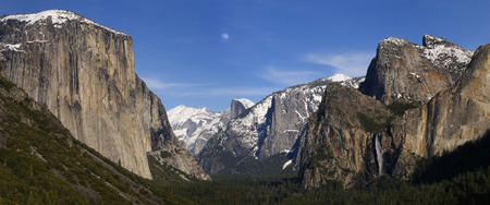 bridalveil fall: Panorama of a valley in the evening with moon