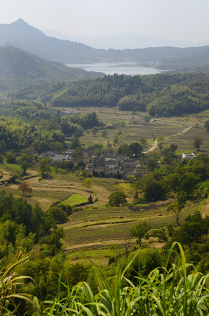 Xieli village near Hongcun and the Qishu Lake Reservoir in Anhui Province China
