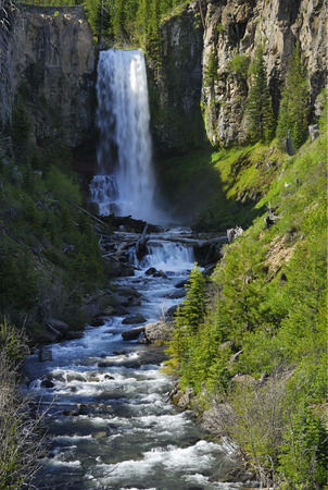 gully: Tumalo Falls and creek feeding into the Deschutes River in Oregon LANG_EVOIMAGES