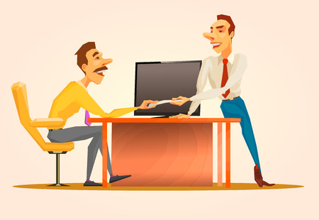 the business situation, the Chief transfers the document and instructs. Vector illustration
