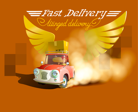 Delivery Concept, Express Delivery, delivery man. Cartoon 3d vector isometric illustration. Isometric car. Delivery car. Gold wings Çizim
