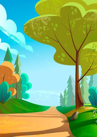Vector illustration of a beautiful green landscape with a road to mountains