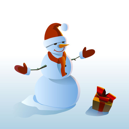 january 1: Snowman and gift vector illustration on white background Illustration