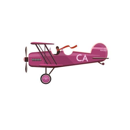 pilot cockpit: Biplane icon, cartoon, flat style isolated on white