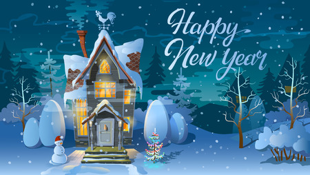 night before christmas: Happy new year. Winter time. Night of Christmas, the Family house before a holiday. An illustration for card. s poster Illustration