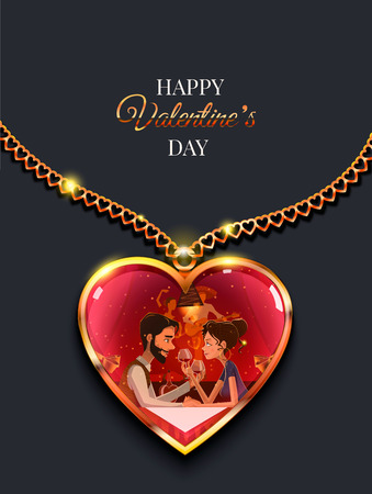 saint valentine s day: Heart of gold decoration. In the inside  the  illustration  couple in love boy and girl