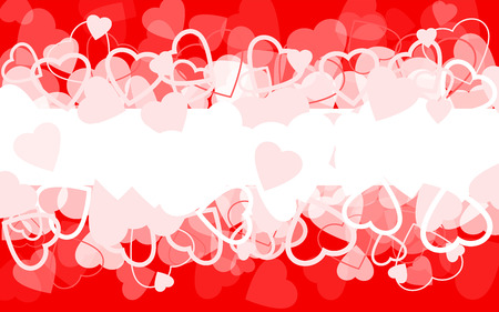Holiday red background with hearts Illustration