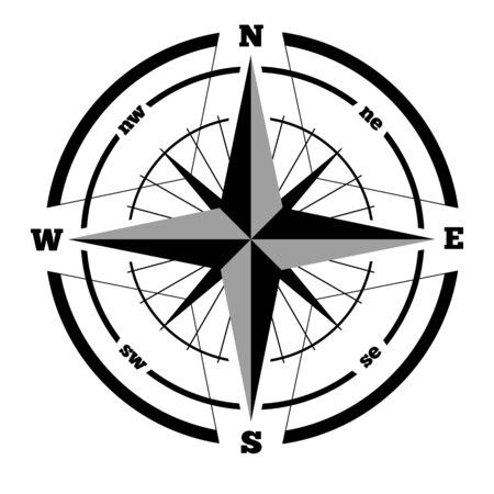 Compass wind rose hand drawn design element. Rasterized Copy