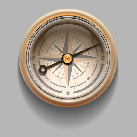 Antique retro style compass with windrose. Illustration. Rasterized Copy
