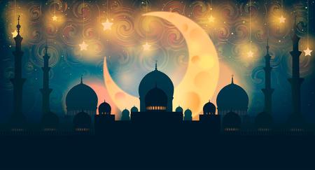イスラム教。三日月と星の夜空にシルエットのモスク。ラスタライズされたコピー