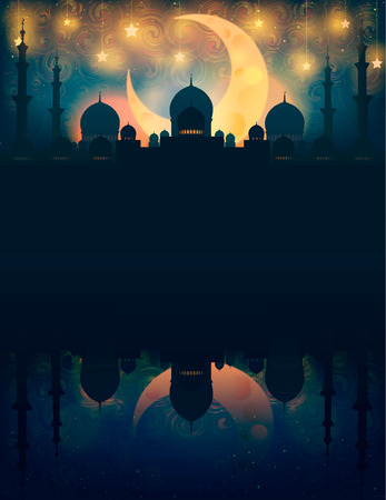 Islam. Mosque silhouette in night sky with crescent moon and star, Rasterized Copy 版權商用圖片