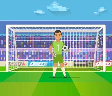 Voetbal doelman houden doel op arena vector illustratie. Vlak. Voetbal keeper in frame. Vector Illustratie