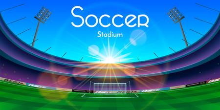 soccer field: The vector illustration of an arena in sunset with soccer stadium text. Illustration