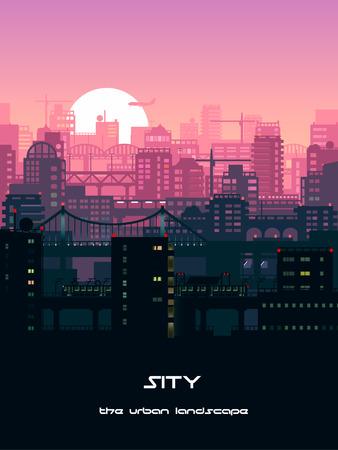 Vector illustration of the skyline with skyscrapers in the city in sunset. Illustration