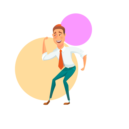 Cheerful man with red tie having fun and dancing. Vector illustration.