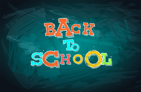 school class: Back to school words drawn with chalk
