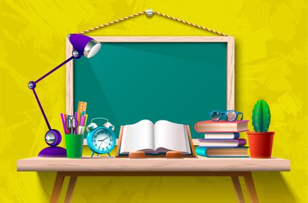 Book on desk and a blackboard Illustration