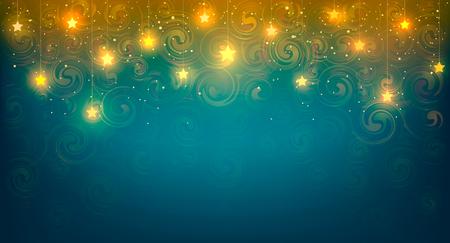 居心地の良い黄色の光沢がある星の背景のベクトル イラスト。