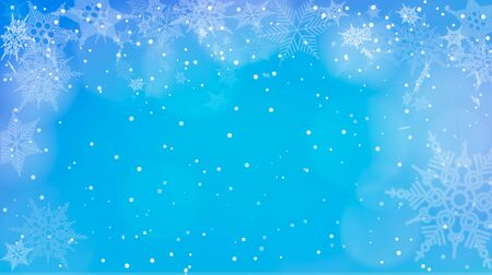 Blue background with snowfall. Vector illustration of blue winter background with snowfall.