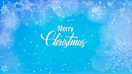 Christmas greeting on snow background, Merry Christmas words on blue winter background with snowfall.