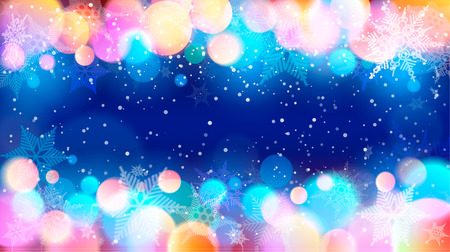Vector illustration of snowflakes and colorful specks of light on blue background.