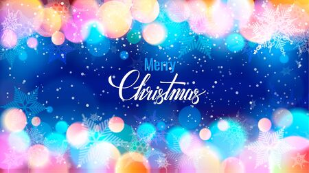Merry Christmas writing on specks and snowflakes Stock Photo