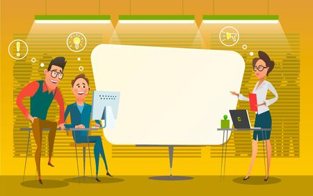 illustration of group of people offering their ideas during brainstorming session at office. Business characters in the working environment. Discussion of business processes Foto de archivo