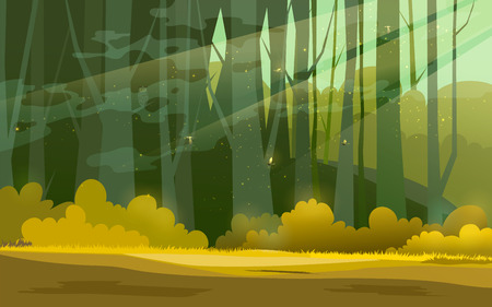 Sunny forest background.  illustration of woods in forest in sunlight background. Stock Photo