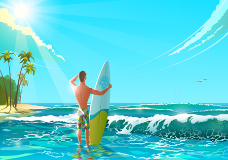 Ocean Beach Vector Illustration. Athletic man standing on the beach with surfboard. Funny character man