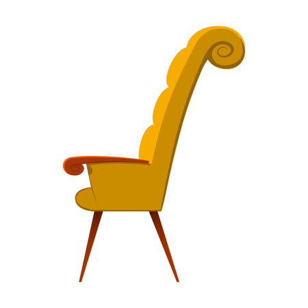 Image of elegant armchair. Vector illustration of yellow elegant piece of furniture for sitting on white. Stock Photo