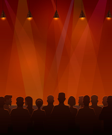 People sitting at the stage. Vector illustration of silhouettes of audience sitting at the stage. Illustration