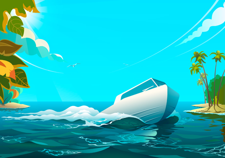 Motorboat in the ocean.  illustration of white motorboat floating in the ocean.