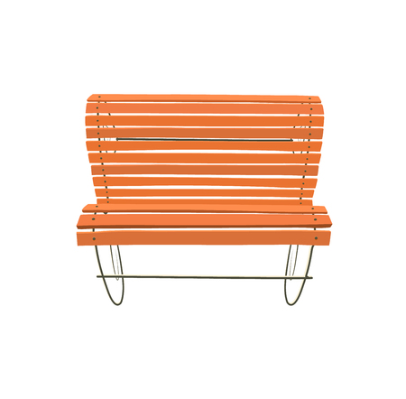 Wooden bench isolated on white background. Park brown vector bench in flat style Иллюстрация