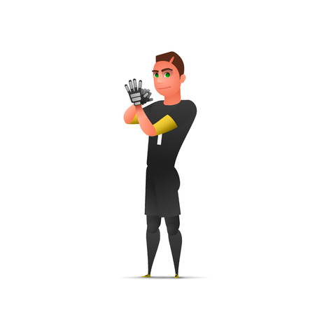Soccer waiting goalkeeper. Character design isolated. Vector illustration