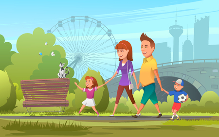 Cheerful family walking in park.  illustration of happy parents with children walking together in green park.