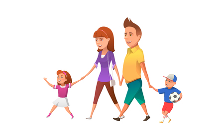 Happy family walking together.  illustration of happy parents with children walking together and having fun.